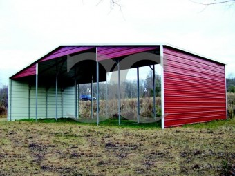 Barn Shelter | Boxed Eave Roof | 44W x 21L x 12H | Continuous Roof