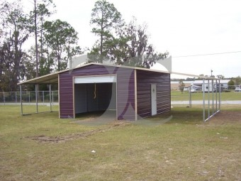 Enclosed Metal Barn | Boxed Eave Roof | 44W x 21L x 10H | Lean-tos