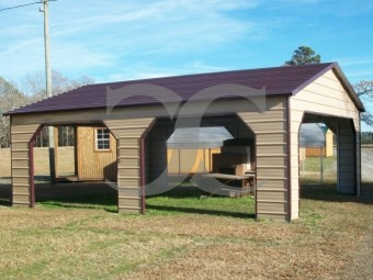 Carport | Boxed Eave Roof | 24W x 26L x 9H | Pavilion Carport with Side Entry